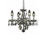 "Rococo Collection 4-Light 15"" Golden Teak Crystal Mini Chandelier 7804D15GT-GT/RC"