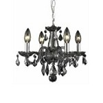 "Rococo Collection 4-Light 15"" Silver Shade Crystal Mini Chandelier 7804D15SS-SS/RC"