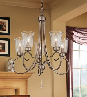 Kichler Five Light Brushed Silver & Gold Up Chandelier - 43238BRSG