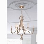 Crystorama Eight Light Hand Cut Crystal Beads Glass Distressed Twilight Up Chandelier - 6768-DT