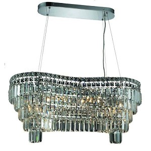 "Ibiza Design 14-Light 32"" Chrome Oblong Chandelier Pendant with European or Swarovski Crystals SKU# 10268"