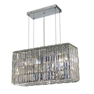 "Ibiza Design 8-Light 26"" Chrome Rectangular Chandelier Pendant with Clear or Golden Teak with European or Swarovski Crystals SKU# 13084"