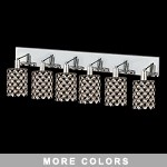 "Hollywood Design 6-Light 40"" Round Wall Sconce Rectangular Bath Bar Dressed with  30% Lead or Swarovski Spectra Crystal SKU# 13097"