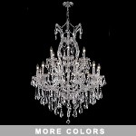 "Maria Theresa 19-Light 42"" Chrome, Gold, Golden Teak, Black, or White Crystal Chandelier with 30% Lead or European Crystals SKU# 36711"