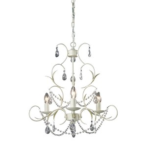 "Antique White 3-Light 19"" Mini Crystal Chandelier 123-005"