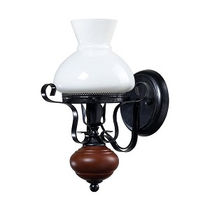 "Restoration 1-Light 9"" Blackened Iron Metal Wall Sconce with White Glass 124-002"