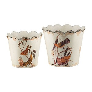 Set of Two Bird And Branch Planters 51-4531