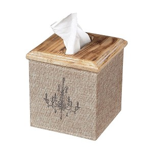 Linen Covered Washed Pine Tissue Box 89-8005