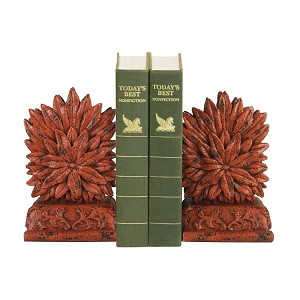 Red Floral Bookends (Set Of 2) 93-8505