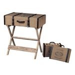 Les Tulips Collection Linen Covered Chocolate / Washed Pine Travelling Chests On Stand 89-8010/S3