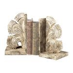 Carved Fan Vintage White Bookends 93-10061/S2