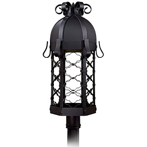 "Montalbo Dark Sky Collection 1-Light 28"" Vintage Black Energy Efficient Outdoor Post Lantern 9246-1-66-PL"