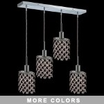 "Hollywood Design 4-Light 26"" Linear Oval Adjustable Pendants with 30% Lead or Swarovski Spectra Crystal SKU# 11469"