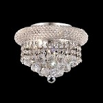 Bagel Design 3-Light 10'' Gold or Chrome Round Flush Mount Ceiling Light Dressed with European or Swarovski Spectra Crystal Strands  SKU# 10126