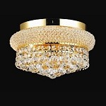 Bagel Design 4-Light 12'' Chrome or Gold Round Ceiling Flush Mount Dressed with European or Swarovski Spectra Crystal Strands  SKU# 10127