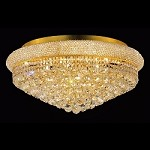 Bagel Design 15-Light 28'' Gold or Chrome Round Ceiling Flush Mount Dressed with European or Swarovski Crystal  SKU# 10133
