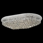 Bagel Design 24-Light 24'' Gold or Chrome Oval Ceiling Flush Mount Dressed with European and Swarovski Crystals SKU# 10136