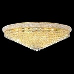 Bagel Design 30-Light 42'' Chrome or Gold Round Ceiling Flush Mount Dressed with European or Swarovski Crystals SKU# 10137