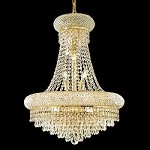 Bagel Design 14-Light 20'' Chrome or Gold Mini Chandelier Dressed with European or Swarovski Crystals SKU# 45716
