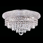 Bagel Design 6-Light 14'' Gold or Chrome Round Ceiling Flush Mount Dressed with European or Swarovski Crystals SKU# 10156