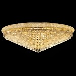 Bagel Design 33-Light 48'' Chrome or Gold Round Ceiling Flush Mount Dressed with European or Swarovski Crystals SKU# 10165