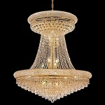 Bagel Design 28-Light 45'' Chrome or Gold Chandelier Dressed with European or Swarovski Crystals SKU# 10152