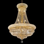 Bagel Design 14-Light 34'' Chrome or Gold Chandelier Dressed with European or Swarovski Crystals SKU# 10170