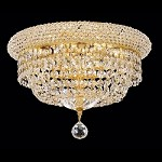 Bagel Design 6-Light 14'' Chrome or Gold Ceiling Flush Mount Dressed with European or Swarovski Crystals SKU# 10178