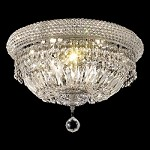 Bagel Design 8-Light 16'' Gold or Chrome Ceiling Flush Mount Dressed with European or Swarovski Crystals SKU# 10179