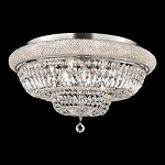 Bagel Design 15-Light 28'' Gold or Chrome Ceiling Flush Mount Dressed with European or Swarovski Crystals SKU# 10182