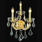 "Maria Theresa 3-Light 22"" Chrome or Gold Wall Sconce with European or Swarovski Crystals SKU# 10416"
