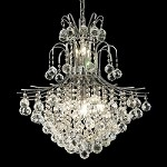 Gold or Chrome Contour 11-light Chandelier with European or Swarovski Spectra Crystal Strands 193009 SKU# 10529