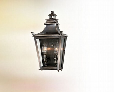 Two Light English Bronze Wall Lantern
