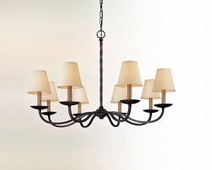 "Alexander Collection 8-Light 38"" English Iron Chandelier F2668"