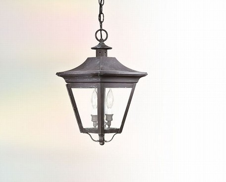 Two Light Charred Iron Hanging Lantern