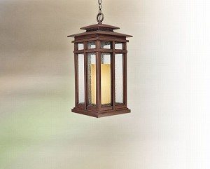 "Cottage Grove Collection 1-Light 11"" Cottage Bronze Outdoor Ceiling Lantern FF3087CB"