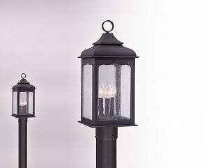 "Henry Street Collection 3-Light 22"" Colonial Iron Post Mount Lantern P2015CI"