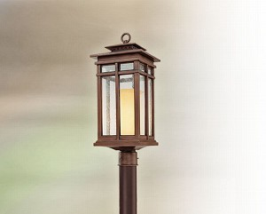 "Cottage Grove Collection 1-Light 22"" Cottage Bronze Post Mount Lantern PF3084CB"