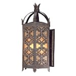 "Gables Collection 4-Light 27"" Charred Gold Outdoor Wall Lantern with Sunset Glass B9903CG"