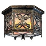 "Gables Collection Energy Efficient 2-Light 14"" Charred Gold Outdoor Ceiling Light CF9900CG"