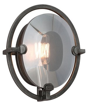 "Prism Collection 1-Light 9"" Graphite Wrought Iron Wall Sconce with Plated Smoked Crystal B2821"