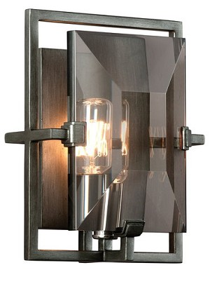 "Prism Collection 1-Light 9"" Graphite Wrought Iron Wall Sconce with Plated Smoked Crystal B2822"