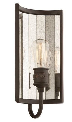 "Brooklyn Collection 1-Light 14"" Brooklyn Bronze Wall Sconce with Antique Mirror Glass B3141"