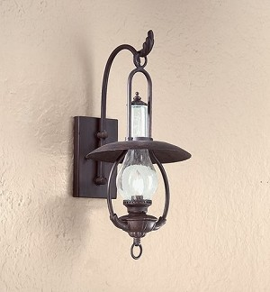 "La Grange Collection 1-Light 20"" Old Bronze Indoor/Outdoor Wall Fixture with Clear Seeded Glass BCD9010OBZ"