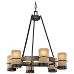 "Bamboo Collection 6-Light 28"" Bronze Chandelier with Natural Slate F1846BB"