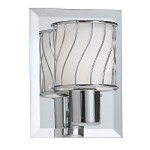 "Dainolite 1-Light 4"" Polished Chrome Bath Vanity Fixture with White Frosted Glass V010-1W-PC"