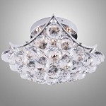 "Contemporary 4-Light Square 8"" Chrome or Gold Ceiling Flush Mount with European or Swarovski Spectra Crystal SKU# 10611"