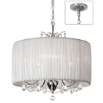"Shaded Light Design 5-Light 20"" Crystal Mini Chandelier with White Gathered Pleated Organza Shade SKU#372982"
