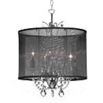 "Shaded Light Design 3-Light 14"" Crystal Mini Chandelier with Black Organza Shade SKU* VNA-14-3-115"