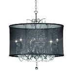 "Shaded Light Design 5-Light 20"" Crystal Chandelier with Black Organza Shade SKU* 318901"